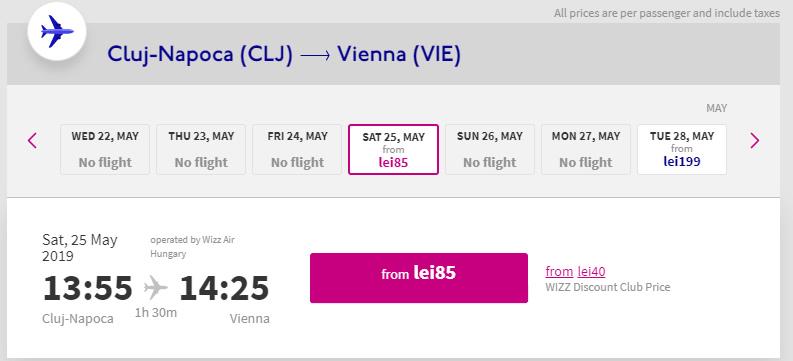 Cluj-Viena - Transfer gratuit de la aeroport Viena - Cazare Ieftina